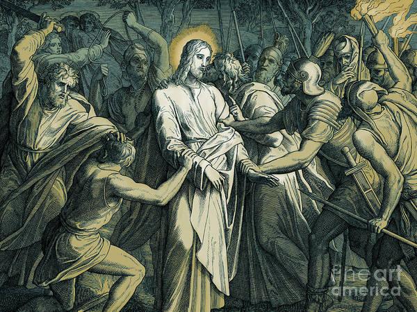 Gospel Drawing - Judas Kiss  Betrayal Of Christ, Gospel Of Matthew by Julius Schnorr von Carolsfeld