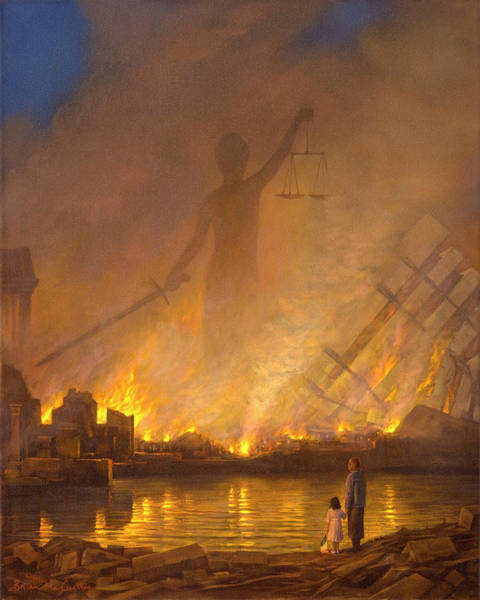Flaming Sword Painting - Judgement Day by Brian McCarthy