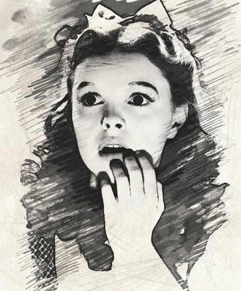 Wizard Drawing - Judy Garland As Dorothy by John Springfield