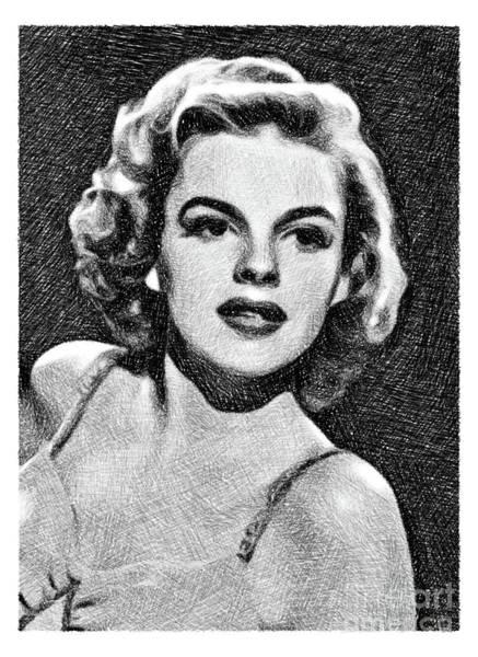 Pinewood Drawing - Judy Garland, Vintage Actress By Js by John Springfield