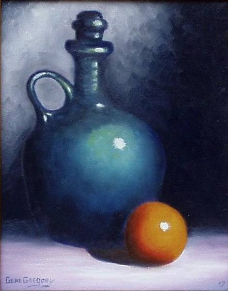 Painting - Jug And Orange. by Gene Gregory