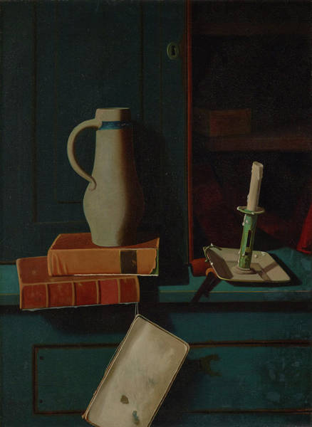 The Horseshoe Wall Art - Painting - Jug, Books, And Candle On A Cupboard Shelf by John Frederick Peto