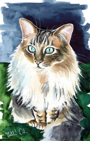 Crazy Cat Painting - Juju - Cashmere Bengal Cat Painting by Dora Hathazi Mendes