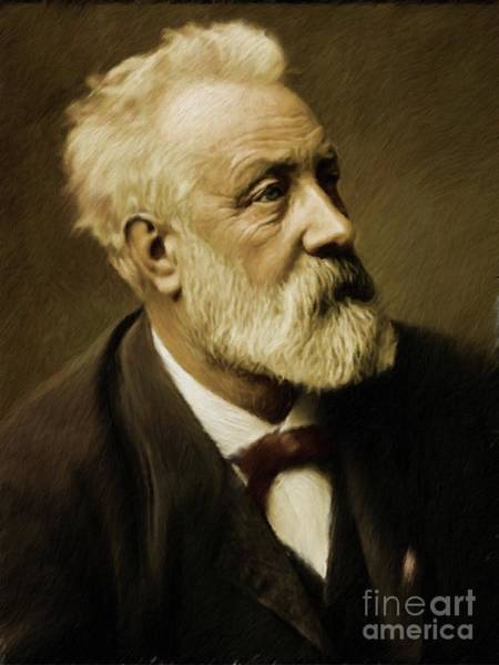 Jules Verne Wall Art - Painting - Jules Verne, Literary Legend by Mary Bassett