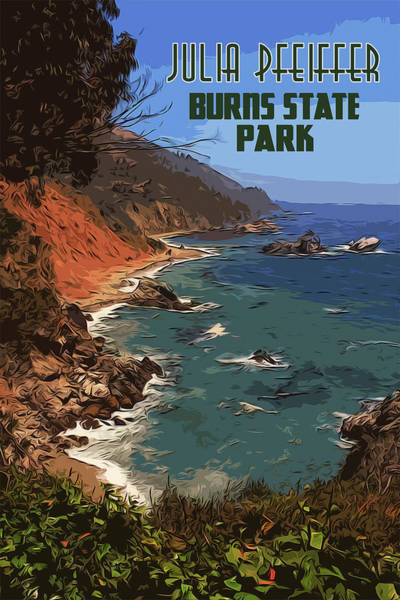 Painting - Julia Pfeiffer State Park In Autumn by Andrea Mazzocchetti