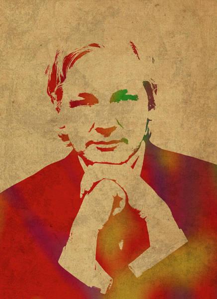 Watercolor Portrait Mixed Media - Julian Assange Of Wikileaks Watercolor Portrait by Design Turnpike
