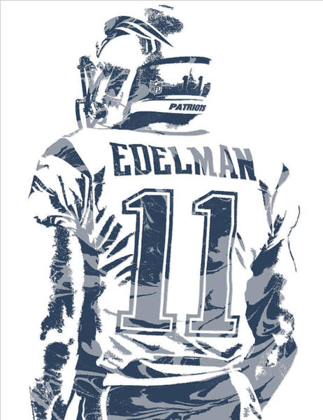 Wall Art - Mixed Media - Julian Edelman New England Patriots Pixel Art 10 by Joe Hamilton