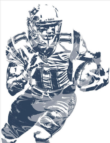 Wall Art - Mixed Media - Julian Edelman New England Patriots Pixel Art 13 by Joe Hamilton