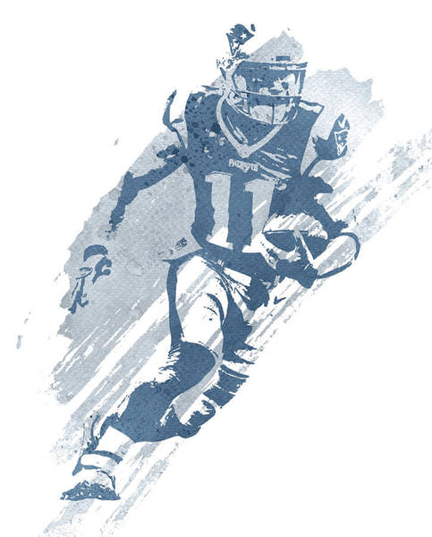Wall Art - Mixed Media - Julian Edelman New England Patriots Water Color Art 1 by Joe Hamilton