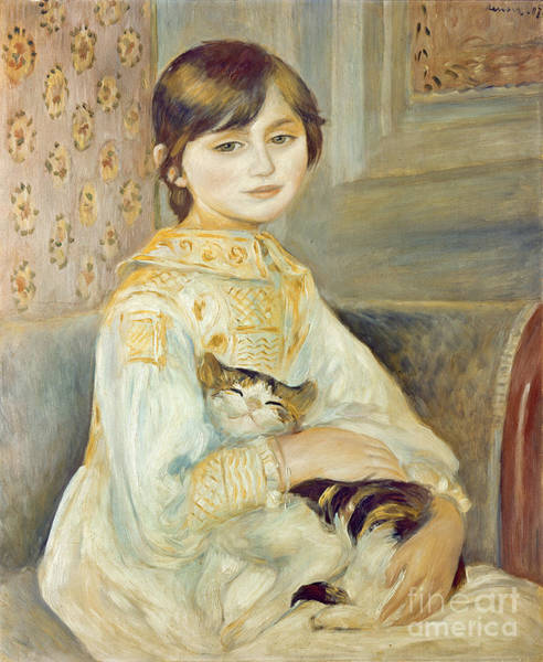 Manet Wall Art - Painting - Julie Manet With Cat by Pierre Auguste Renoir