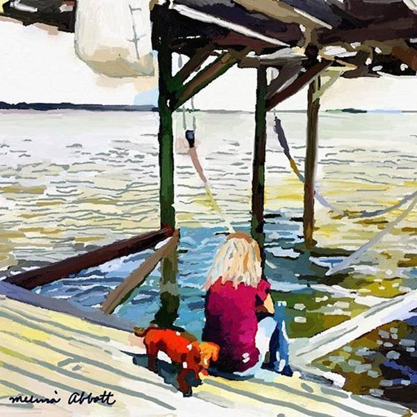 Photograph - Julie Sitting On Her Dock by Melissa Abbott