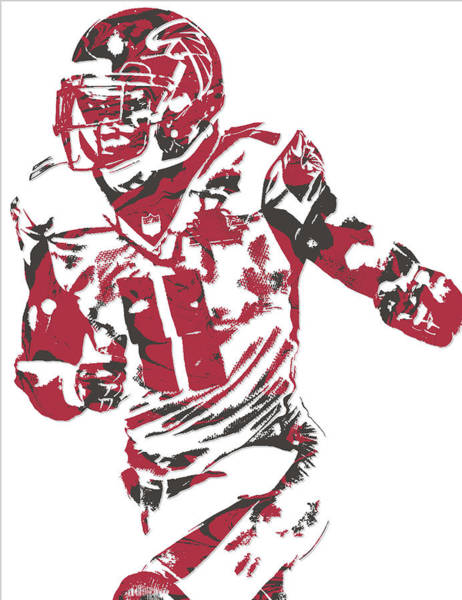 Atlanta Falcons Mixed Media - Julio Jones Atlanta Falcons Pixel Art 10 by Joe Hamilton