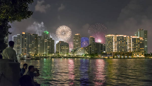 Photograph - July 4th Fireworks Over Brickell Key by Lynn Palmer