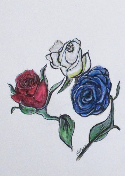 Painting - July 4th Roses by Clyde J Kell