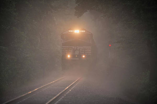 Norfolk Southern Railway Wall Art - Photograph - July 6 2016 Norfolk Southern Tier4 Engine 3616 In Fog by Jim Pearson