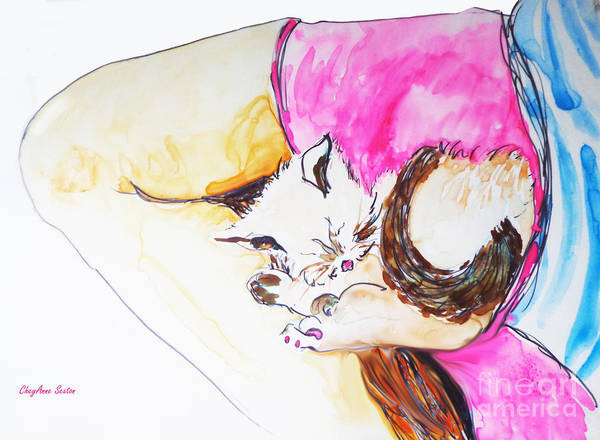 Curl Up Painting - July Kitty In Rachaels Lap by CheyAnne Sexton