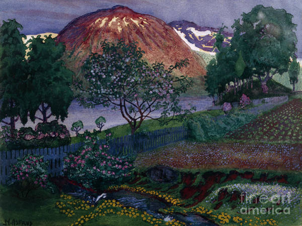 Nikolai Astrup Painting - July Night In The Garden by O Vaering
