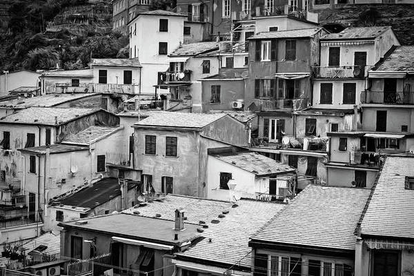 Photograph - Jumble Of Houses Vernazza Cinque Terre Italy Bw by Joan Carroll