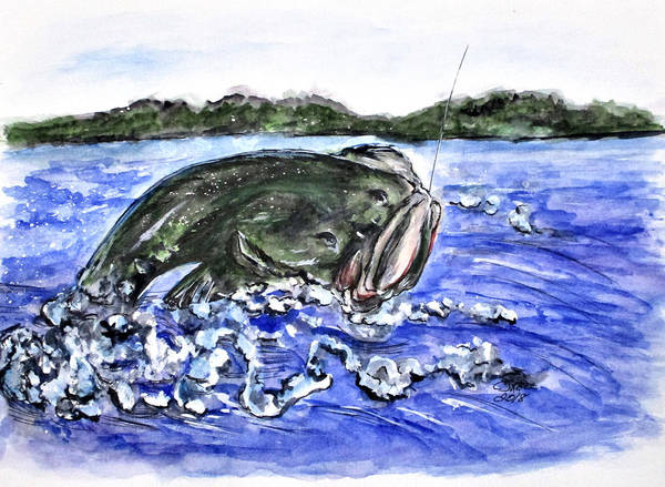 Painting - Jumping Bass by Clyde J Kell