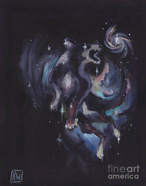 Wall Art - Painting - Jumping Dog Constellation by Robin Wiesneth