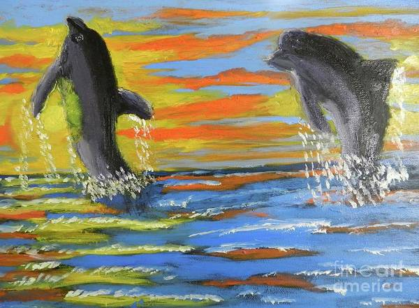Wall Art - Painting - Jumping Dolphins by Pamela Meredith