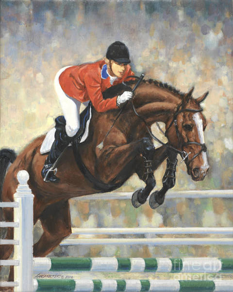 Wall Art - Painting - Jumping Horse And Girl by Don Langeneckert