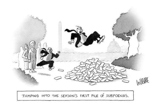 Legal Drawing - Jumping Into The First Pile Of Subpoenas by Glen Le Lievre
