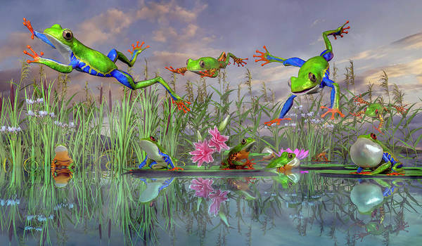 Pads Digital Art - Jumping Joy Spring Time Frogs by Betsy Knapp