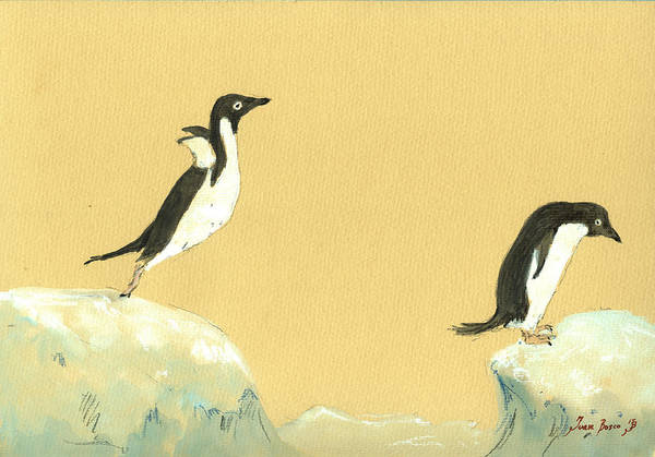 Sealife Painting - Jumping Penguins by Juan  Bosco