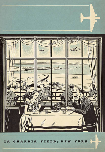 New York Wall Art - Mixed Media - June 1940 New York La Guardia Restaurant Menu Cover Page by Zal Latzkovich