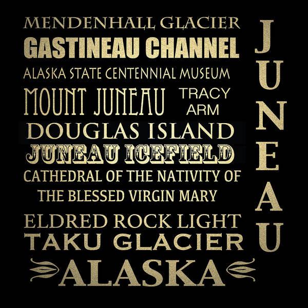 Virgin Digital Art - Juneau Alaska Famous Landmarks by Patricia Lintner