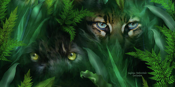 Mixed Media - Jungle Eyes - Panther And Ocelot  by Carol Cavalaris