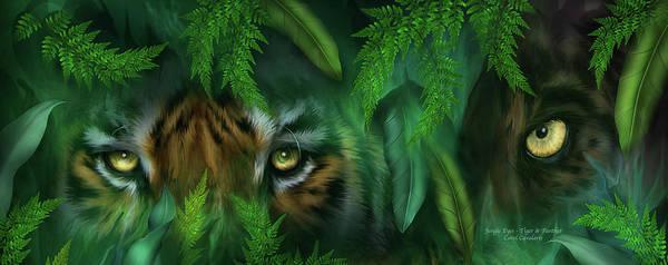 Black Panther Mixed Media - Jungle Eyes - Tiger And Panther by Carol Cavalaris