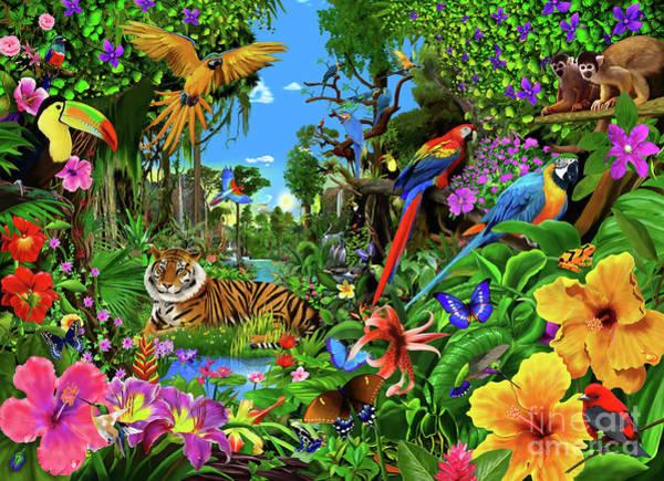 Monkey Flower Wall Art - Digital Art - Jungle Sunrise by MGL Meiklejohn Graphics Licensing