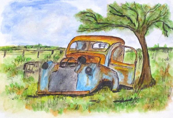Junk Car And Tree Art Print