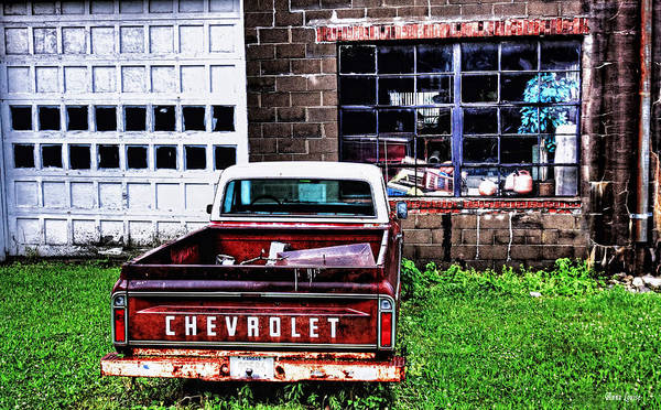 Photograph - Junked Old Chevrolet Truck And Garage by Anna Louise