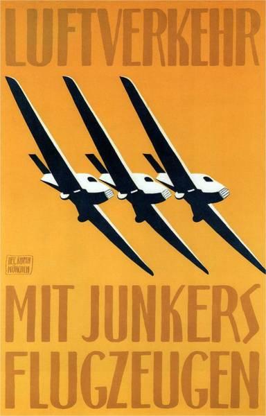 Junker Wall Art - Painting - Junkers-flugzeug And Luftverkehr Aircrafts - Vintage Advertising Poster - Minimalist by Studio Grafiikka