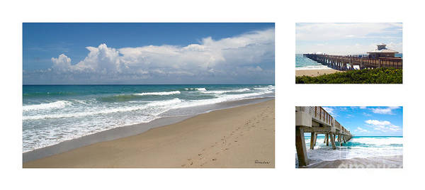 Photograph - Juno Beach Pier Florida Seascape Collage 2 by Ricardos Creations