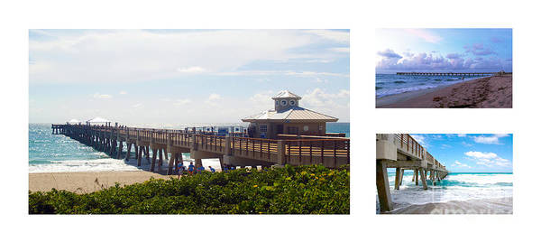 Photograph - Juno Beach Pier Florida Seascape Collage 3 by Ricardos Creations