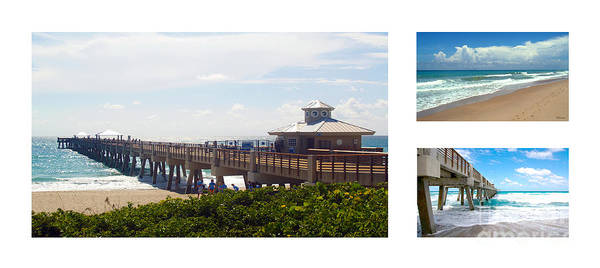 Photograph - Juno Beach Pier Florida Seascape Collage 7 by Ricardos Creations