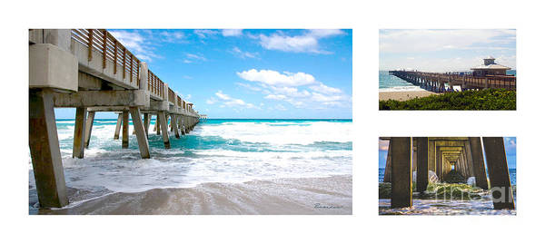 Photograph - Juno Beach Pier Florida Seascape Collage 9 by Ricardos Creations