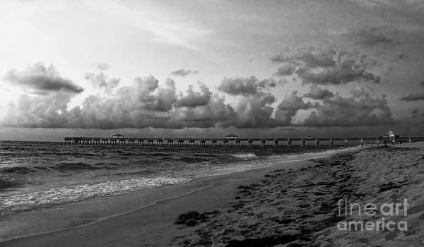 Photograph - Juno Beach Pier Florida Sunrise Seascape C7 Black And White by Ricardos Creations