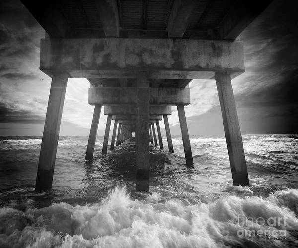 Photograph - Juno Beach Pier Sunrise Seascape Black And White D8 by Ricardos Creations