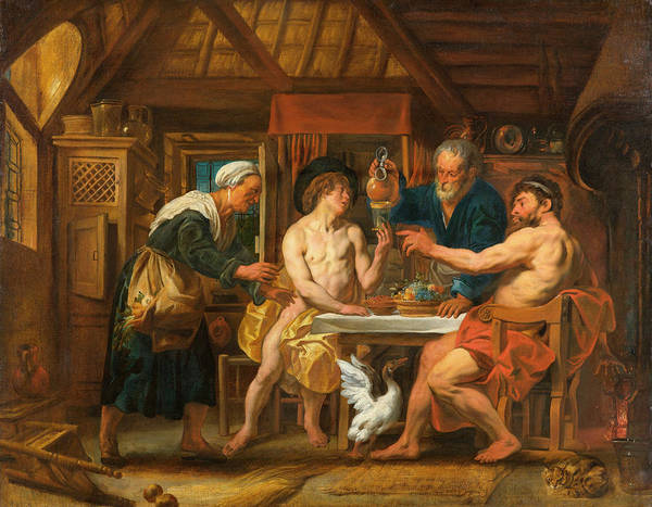 Greek House Painting - Jupiter And Mercury In The House Of Philemon And Baucis by Jacob Jordaens