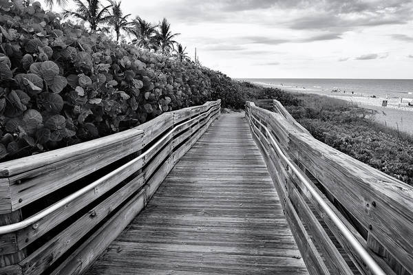 Wall Art - Photograph - Jupiter Beach Walk - Black And White by Laura Fasulo