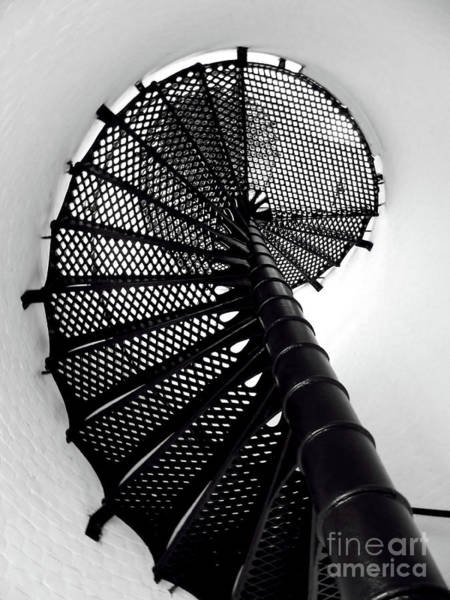 Photograph - Jupiter Lighthouse Spiral Staircase Bw by D Hackett