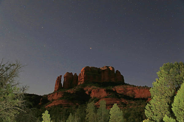 Wall Art - Photograph - Jupiter Over Cathedral Rock At Midnight by Donna Kennedy
