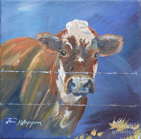 Painting - Just A Big Happy Cow On A Little Square Canvas by Jan Dappen