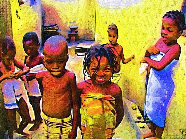 Ghana Painting - Just After Bath by Deborah Selib-Haig DMacq