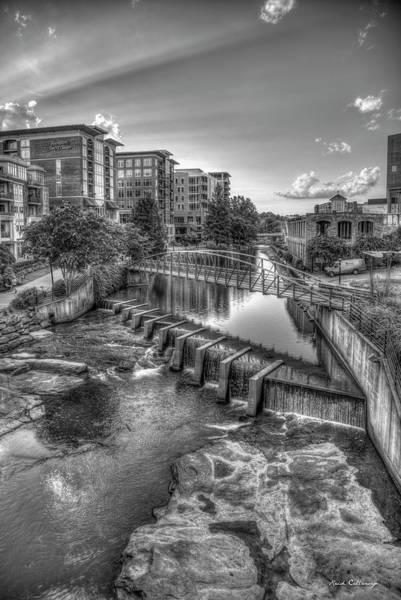 Photograph - Just Before Sunset B W Reedy River Falls Park Greenville South Carolina Art by Reid Callaway